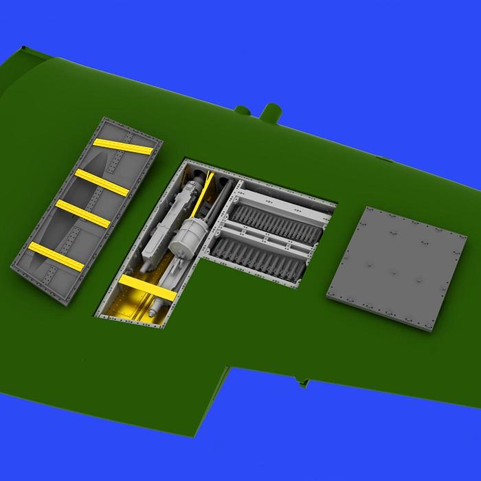 eduard brassin 648334 Spitfire Mk. IXe gun bays 1/48 Kit en resina con los pozos de armas para el Spitfire Mk.IXe. Contenido: Piezas en resina 22 y fotograbados.