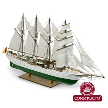 constructo 80622 Juan Sebastian Elcano 1/205 Kit de montaje en madera y metal con el casco en madera maciza tallado de fábrica.