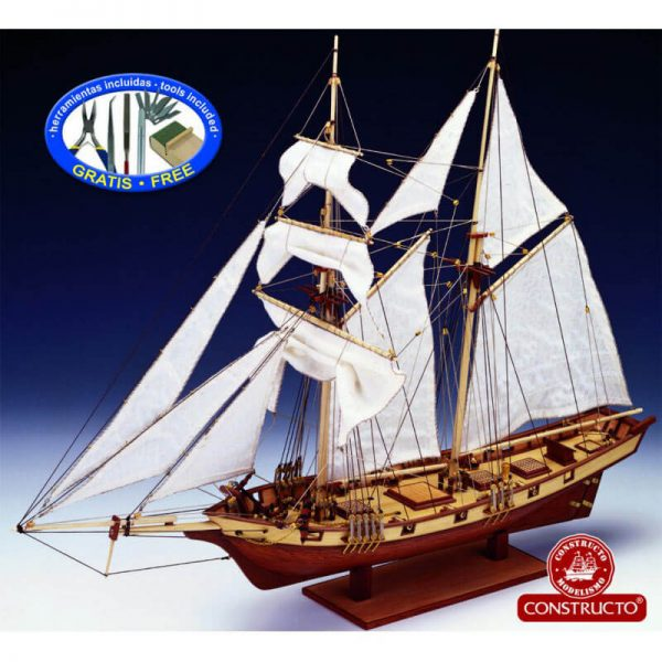 constructo 80702 Albatros 1840 Goleta de Baltimore 1/55 Kit de construcción tradicional en madera y metal. Casco hueco tradicional con falsa quilla y costillas precortadas de fabrica.