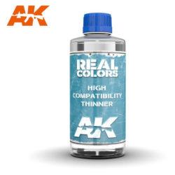 RC701 RC702 High Compatibility Thinner 200ml Diluyente de muy alta calidad especialmente diseñado para usar con las pinturas AK Interactive Real Colors. No tóxico e inodoro. Presentación en tarro de cristal