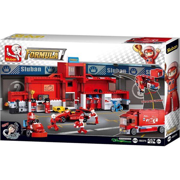 Sluban B0375 Formula F1 Car Station Juego de construcción por bloques de plástico compatibles con Lego y otras marcas.
