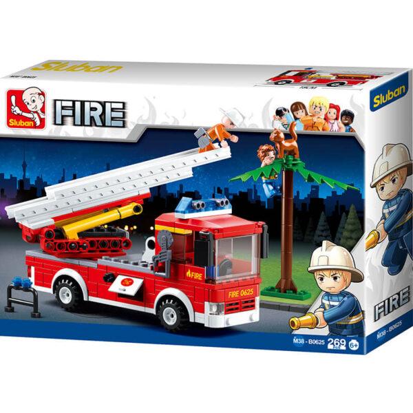Sluban B0625 Fire Ladder Truck Juego de construcción por bloques de plástico compatibles con Lego y otras marcas.