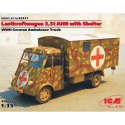 icm 35417 Lastkraftwagen 3.5 t AHN with Shelter, WWII German Ambulance Truck Kit en plástico para montar y pintar una ambulancia alemana durante la 2ªGM.