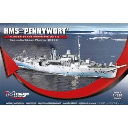 mirage hobby 350804 HMS 'PENNYWORT' Flower-Class Corvette (K111) 1/350 Kit en plástico para montar y pintar una corveta inglesa de la clase Flower equipada como bareminas.