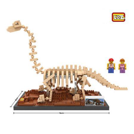 LOZ 9028 Jurassic World Fósil de Dinosaurio Brachiosaurus 570 pcs Construye una réplica detallada del esqueleto fósil de un Velociraptor con los bloques de montaje mas pequeños del mercado. Incluye base y 2 figuras.
