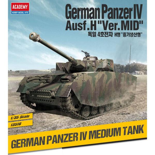 academy 13516 German Panzer IV Ausf H Ver Mid Kit en plástico para montar y pintar. Representa la versión Panzer IV Ausf.H versión media de finales de 1943