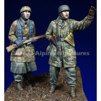 alpine miniatures 35249 Fallschirmjaeger, Ardennes Set Kit en resina para montar y pintar. El kit incluye 2 figuras y 4 cabezas.
