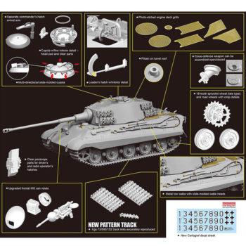 dragon 6900 Kingtiger Late Production w/New Pattern Track s.Pz.Abt.506 Ardennes 1944 Kit en plástico para montar y pintar. Incluye fotograbados y cadenas por eslabones individuales. 1/35