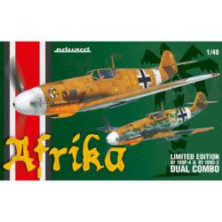 eduard 11116 Afrika DUAL COMBO Messerschmitt Bf 109F-4 / Bf 109G-2 1/48 Kit en plástico para montar y pintar en edición limitada. Se pueden montar 2 maquetas completas del Messerschmitt Bf 109F-4 / Bf 109G-2 durante la campaña de África