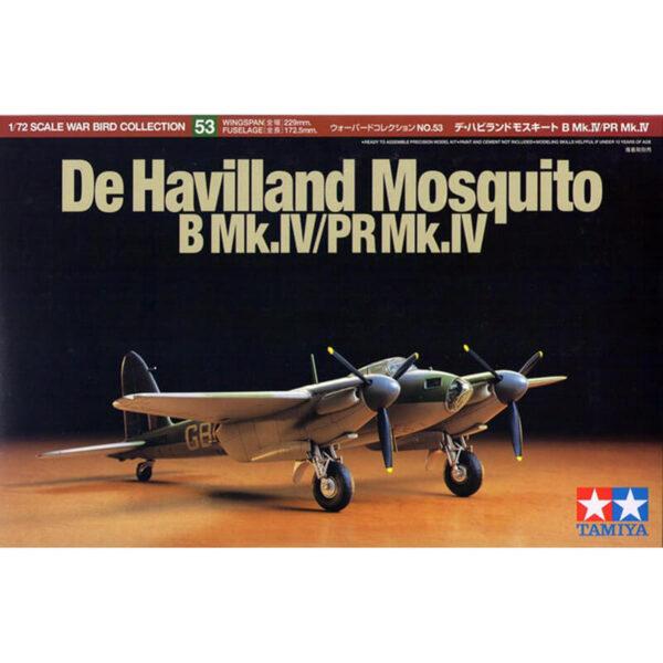 tamiya 60753 De Havilland Mosquito B Mk.IV/ PR Mk.IV Kit en plástico para montar y pintar. Hoja de calcas con 2 decoraciones