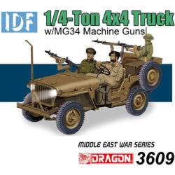 DRAGON 3609 IDF 1/4-Ton 4x4 Truck w/MG34 Machine Guns 50th Aniversary Yhe Six-Day War Kit en plástico para montar y pintar. Incluye fotograbados y motor detallado.