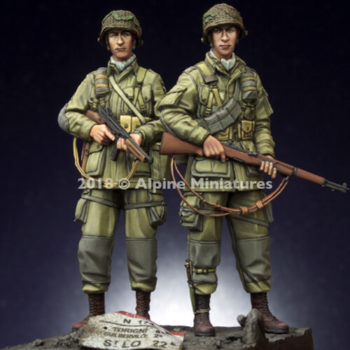 alpine miniatures 35252 US 101st Airborne Trooper Set Kit en resina para montar y pintar. El kit incluye 2 figuraS y 4 cabezas.