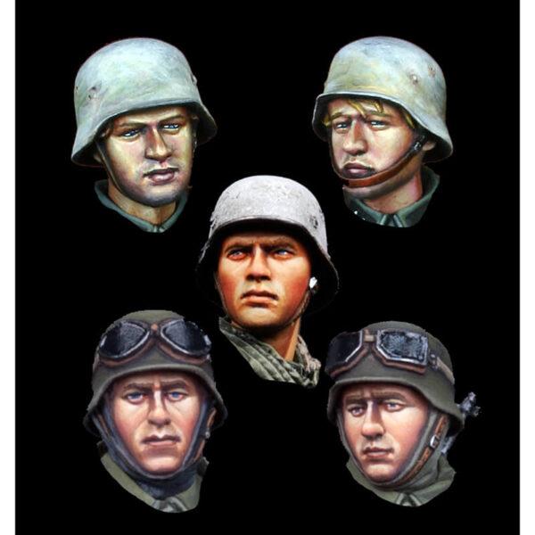 H023 German Infantry Head Set Juego de 5 cabezas en resina con diferentes expresiones para personalizar cualquier figura de infantería alemana de la 2ªGM.