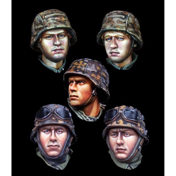 H024 WSS Infantry Head Set Juego de 5 cabezas en resina con diferentes expresiones para personalizar cualquier figura de las waffen SS de la 2ªGM.H024 WSS Infantry Head Set Juego de 5 cabezas en resina con diferentes expresiones para personalizar cualquier figura de las waffen SS de la 2ªGM.
