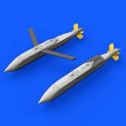 eduard brassin 672175 AGM-154A/C Block I Air-to-Ground Guided Missile 1/72 Kit en resina del misil Aire-Tierra AGM-154A/C Block I utilizado en los F-18. El set se compone de 2 misiles AGM-154A/C Block I. Se puede montar tanto en posición extendida como recogida. Contenido: Piezas en resina 24 y hoja de calcas.