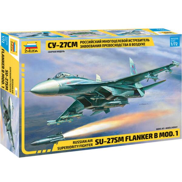 zvezda 7295 Russian Air Superiority Fighter Su-27SM Flanker B Mod. 1 Kit en plástico para montar y pintar