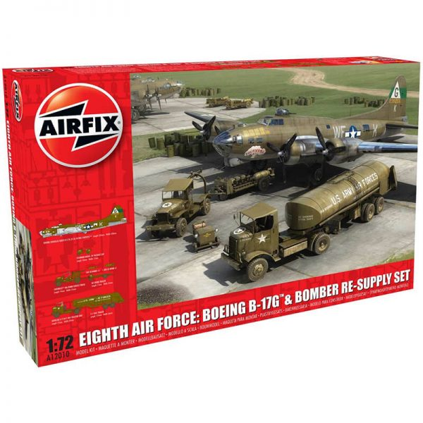 airfix a12010 Eighth Air Force: Boeing B-17G & Bomber Re-supply Set Kit en plástico para montar y pintar. escala 1/72
