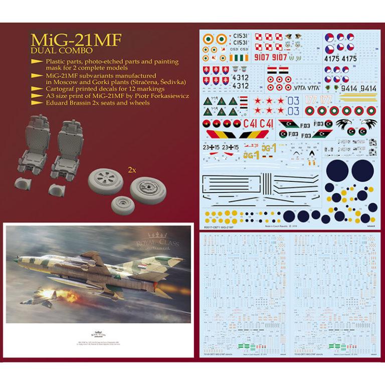 eduard r0017 MiG-21MF Royal Class Dual combo Kit en plástico para montar y pintar en edición limitada. Incluye piezas en fotograbados, resina y mascarillas.
