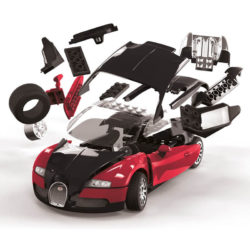 j6020 Airfix Bugatti Veyron Black & Red Quickbuild La nueva gama de modelos QUICK BUILD de Airfix se construyen usando bloques de plástico de ajuste fácil.