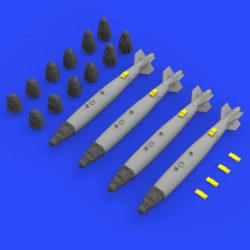 eduard 672199 US Guided Aerial Bomb GBU-38 Non-Thermally Protected 1/72 Kit en resina de la bomba guiada GBU-38 sin protección térmica. El set incluye 4 bombas