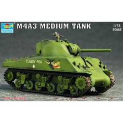 trumpeter 007224 M4A3 Sherman Medium Tank Kit en plástico para montar y pintar. Dimensiones 83 x 36 mm