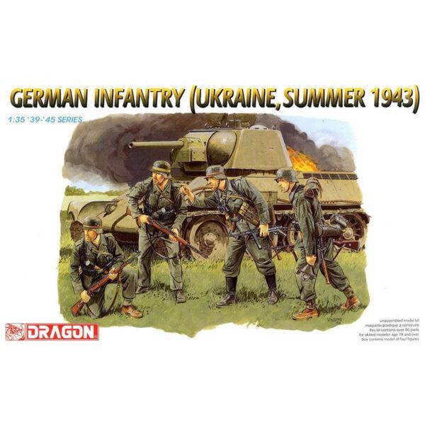 dragon 6153 German Infantry (Ukraine, Summer 1943) Kit en plástico para montar y pintar. El kit se compone de 4 figuras de infantería alemana en el verano de 1943 en el frente del este. Piezas 80+