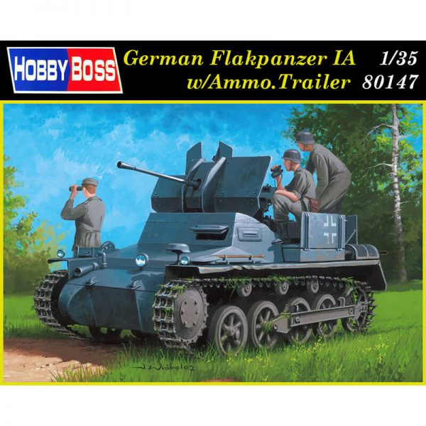 hobby boss 80147 German Flakpanzer IA w/Ammo.Trailer Kit en plástico para montar y pintar. Incluye piezas en fotograbado y cadenas por eslabones individuales. Hoja de calcas con 2 decoraciones