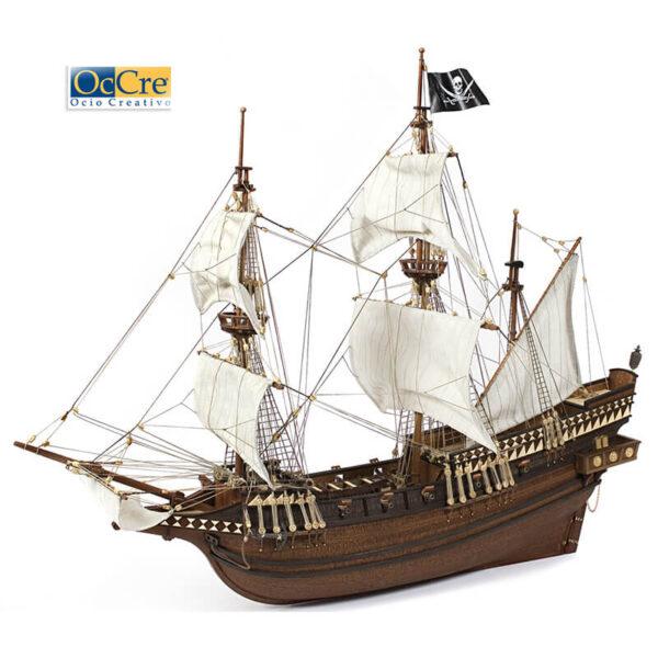 occre 12002 Galeón Buccaneer 1/100 Kit de construcción tradicional en madera, casco por cuadernas con doble forro.