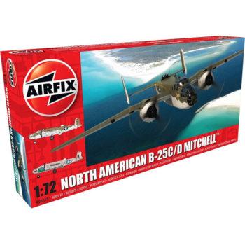 airfix a06015 North American B-25C/D Mitchell Kit en plástico para montar y pintar. Hoja de calcas con 2 decoraciones. Dimensiones 224 x 286 mm Escala 1/72