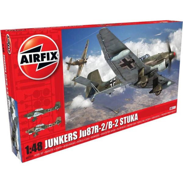 airfix a07115 Junkers Ju87R-2/B-2 Stuka Kit en plástico para montar y pintar. Hoja de calcas con 2 decoraciones. Dimensiones 229 x 288 mm Escala 1/48 Piezas 158