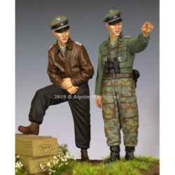 alpine miniatures 35255 WSS Officers 44-45 Set Kit en resina para montar y pintar. El kit incluye 2 figuras y 4 cabezas. Representa a un infante y un oficial panzer de las Waffen SS en la 2ª GM. Escultor: Taesung Harmms Boxart: Toshihiro Sano