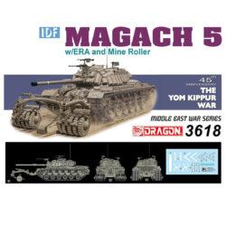 dragon 3618 IDF Magach 5 w/ERA and Mine Roller 45th Anniversary The Yom Kippur War Kit en plástico para montar y pintar.