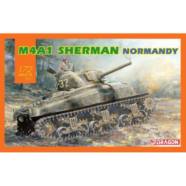 dragon 7568 M4A1 Sherman Normandy Kit en plástico para montar y pintar un tanque americano M4A1 Sherman de la 2ªGM. Hoja de calcas con 2 decoraciones. Escala 1/72 Piezas 90