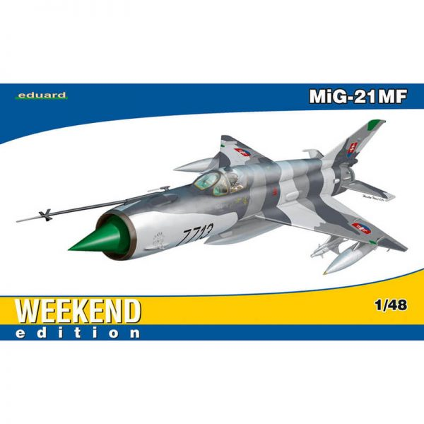 eduard 84126 MiG-21MF Weekend Edition 1/48 Kit en plástico para montar y pintar. Hoja de calcas con 1 decoración. MiG-21MF, Slovak Air Force, 4th Flight, Sliac Airbase, Slovakia, ca.1999 Longitud: 330 mm Envergadura: 149 mm Piezas: 207