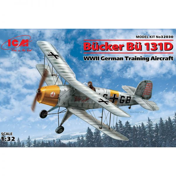 icm 32030 Bücker Bü 131D WWII German Training Aircraft Kit en plástico para montar y pintar. Hoja de calcas con 4 decoraciones. Dimensiones: 208 x 231 mm. Piezas 92.
