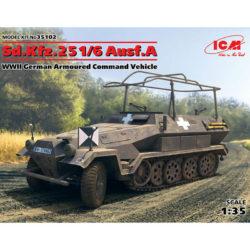 icm 35102 Sd.Kfz.251/6 Ausf.A WWII German Armoured Command Vehicle Kit en plástico para montar y pintar. Hoja de calcas con 2 decoraciones.