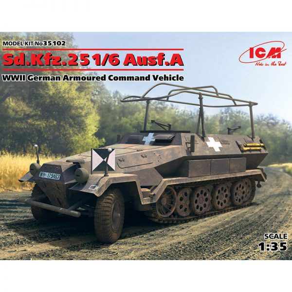 icm 35102 Sd.Kfz.251/6 Ausf.A WWII German Armoured Command Vehicle Kit en plástico para montar y pintar. Hoja de calcas con 2 decoraciones.