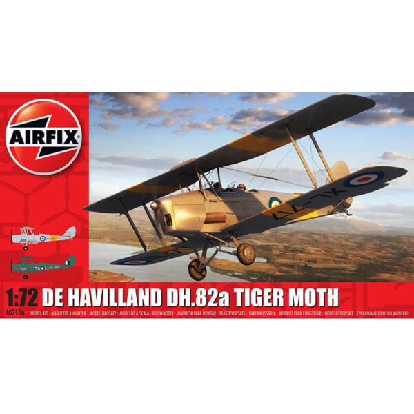 airfix a02106 De Havilland DH.82a Tiger Moth 1:72 Kit en plástico para montar y pintar. Hojas de calcas con 2 decoraciones