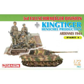 dragon 7361 3rd Fallschirmjager Division + Kingtiger Henschel Production (Ardennes 1944) Part 1 Kit en plástico para montar y pintar. Incluye 4 figuras de paracaidistas alemanes