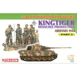 dragon 7362 3rd Fallschirmjager Division + Kingtiger Henschel Production (Ardennes 1944) Part 2 Kit en plástico para montar y pintar. Incluye 4 figuras de paracaidistas alemanes