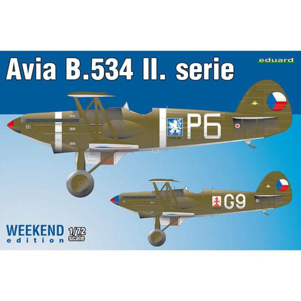 eduard 7448 Avia B.534 II. serie Weekend Edition 1/72 Kit en plástico para montar y pintar de la serie Weekend Edition de Eduard. Hoja de calcas con 2 decoraciones Checoslovacas