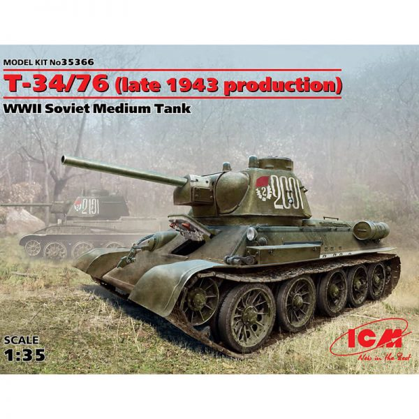 icm 35366 Т-34/76 Late 1943 production WWII Soviet Medium Tank Kit en plástico para montar y pintar.
