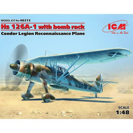 icm 48213 Henschell Hs 126A-1 with bomb rack Condor Legion Reconnaissance Plane Kit en plástico para montar y pintar