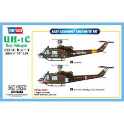 HOBBY BOSS 85803 UH-1C Huey Helicopter Kit en plástico para montar y pintar. Hoja de calcas con 2 decoraciones. Dimensiones: 272,6 x 255 mm Piezas 30