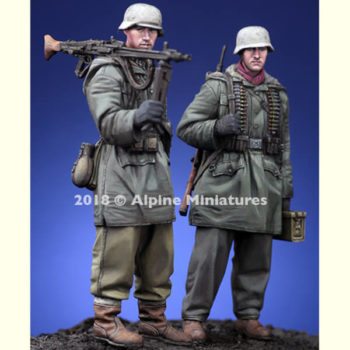 alpine miniatures 35258 WSS MG Team at Kharkov Set Kit en resina para montar y pintar. El kit incluye 2 figuras y 4 cabezas con casco o gorra.