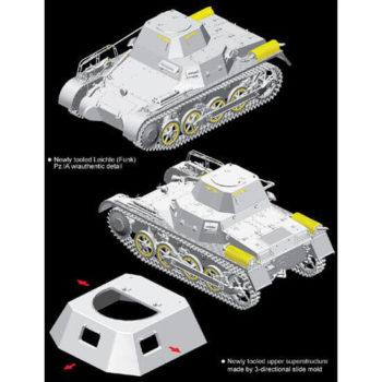 dragon 6591 Leichte (Funk) Pz.Kpfw.I Ausf.A Kit en plástico para montar y pintar. Incluye piezas en fotograbado y cadenas por eslabones individuales.