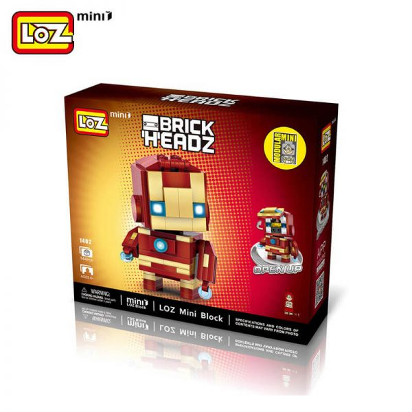 los 1402 Loz Mini 1402 Super Heroes: Iron Man Brick Headz 144 pcs Construye y colecciona con los bloques de Loz, tus personajes favoritos. Los Mini Blocks de Loz son los bloques de construcción de tamaño medio entre Loz Diamond Blocks y Lego Blocks.