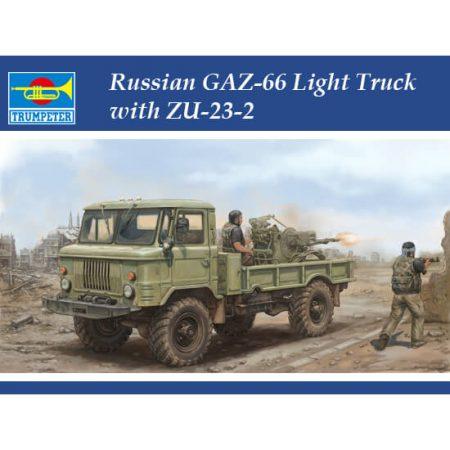 trumpeter 01017 Russian GAZ-66 Light Truck with ZU-23-2 Kit en plástico para montar y pintar. Incluye piezas en fotograbado.