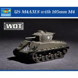 trumpeter 07168 US M4A3E8 with 105mm M4 Kit en plástico para montar y pintar. Hoja de calcas con 2 decoraciones.
