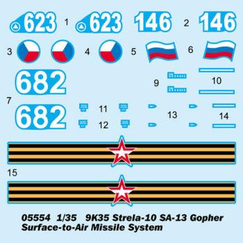 trumpeter 05554 Russian 9K35 Strela-10 SA-13 Gopher Surface-to-Air Missile System Kit en plástico para montar y pintar. Incluye piezas en fotograbado.